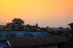 On early morning at Chiang Khan city,Loei,Thailand Royalty Free Stock Photography