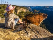 Early morning chillax gazing to Hanging Rock royalty free stock image