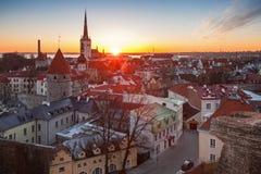 Early morning cityscape with rising sun, Tallinn Stock Photography
