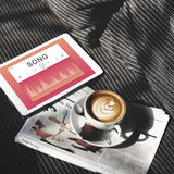 Early Morning Coffee Music Concept. Early Morning Coffee Audio Music Song Stock Photography