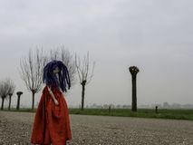 Rag doll with blue hair and a red dress on a Dutch country road stock photos