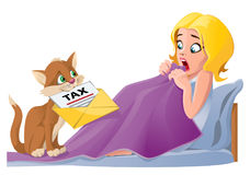 Early morning. Cute cat brings tax letter to bed. Girl shocked. Cartoon styled vector illustration.  Elements is grouped. No transparent objects Stock Photo