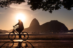 Early Morning Cycling in Rio de Janeiro Royalty Free Stock Images