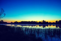 Early morning, dawn over the lake Stock Image