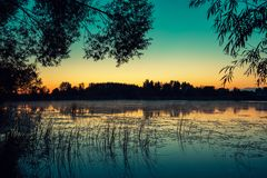 Early morning, dawn over the lake Royalty Free Stock Image