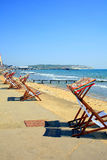 Early morning deckchairs. Stock Images