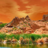 Early morning desert pond Stock Image