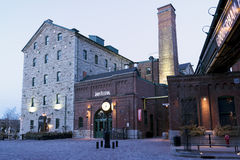 Early Morning in the Distillery District - Toronto, ON. A National Historic Site of Canada, the Distillery District is a mixed use neighbourhood with a focus on royalty free stock image