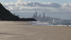 Early morning dog walking, at the North end of Palm Beach, Gold Coast, Queensland Australia. Palm beach is between Currumbin headland to the south, and Burleigh stock video footage