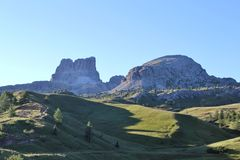 Early morning in the Dolomites. First light in the Dolomites National Park Royalty Free Stock Image