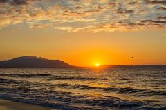 Early morning , dramatic sunrise over sea. Photographed in Asprovalta, Greece. Early morning , dramatic sunrise over sea. Photographed in Asprovalta, Greece royalty free stock photo