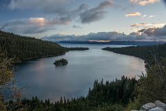 Early Morning in Emerald Bay. A view from above at Emerald Bay in Lake Tahoe, California in the early morning stock photo