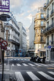 Early morning, first rays of the sun touch the streets of Paris Stock Photos