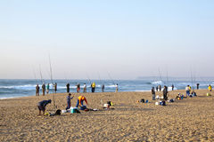 Early Morning Fishermen at Durban's Blue Lagoon Beach Stock Photography
