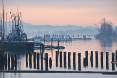 Early Morning Fishing Harbor Royalty Free Stock Images
