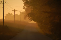Early morning fog. Early morning sunrise glows against the fog while traveling down a country road on a hot summer Illinois day Stock Images