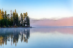 Early Morning Fog on a Lake. Early morning fog on Lewis Lake in Yellowstone National Park in Wyoming royalty free stock photos