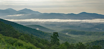 Early Morning Fog in the Mountains. Early morning valley fog from the Blue Ridge Mountains located, Virginia, USA Stock Photos