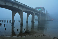 Early Morning Fog Shrouds the Siuslaw River Bridge Royalty Free Stock Image