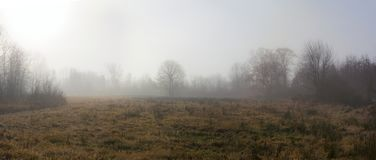 Morning Fog Panorama Stock Photography