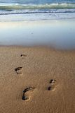 Early Morning Footprints. Footprints in the sand photographed in the early morning Stock Photos