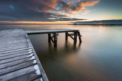 Early morning at frozen small pier in Sopot. Stock Images