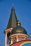 Early morning. Golden domes of the Small Pokrovsky Temple Royalty Free Stock Photography