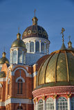 Early morning. Golden domes of the St. Pokrovsky Cathedral Stock Photos