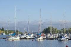 Early morning in the harbor Lappeenranta. Finland Stock Photography