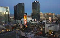 An Early Morning Harmon and Las Vegas Blvd Shot stock photography