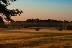 Early morning hay bales royalty free stock image