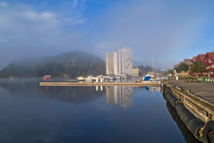Early morning at the inner harbor of halden Stock Photo