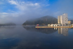 Early morning at the inner harbor of halden Stock Image