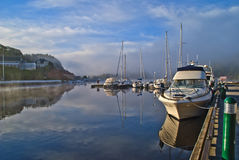 Early morning at the inner harbor of halden Royalty Free Stock Images