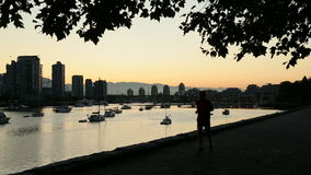 Early Morning Jog, False Creek, Vancouver. A jogger out for a morning workout in False Creek. Vancouver, British Columbia, Canada stock video footage