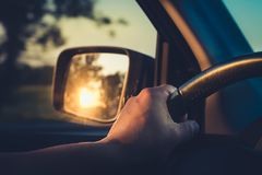 Early in the morning journey by car. Golden hour Stock Photos
