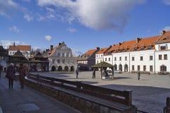 Empty market in Kazimierz Dolny on a sunny winter morning royalty free stock photos