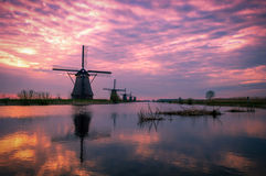Early morning in Kinderdijk, Holland Royalty Free Stock Photos