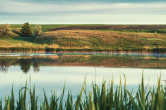 Early morning lake with fisherman. Rural landscape with lake and fisherman Stock Photos