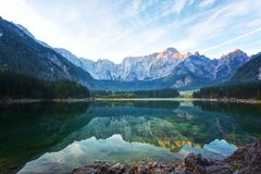 Early morning on the lake Fusine Stock Image