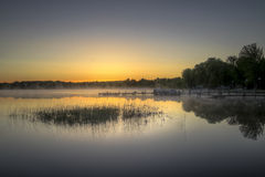 Early Morning Lake Haze in Michigan Stock Photography