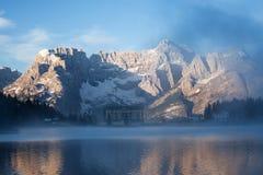 Early morning on the Lake Misurina Royalty Free Stock Image
