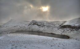 Early morning landscape. Early sunrise landscape and lake. South Wales, UK Stock Image