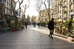 Early morning on Las Ramblas Royalty Free Stock Photo