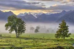 Early morning light. Above the glaciers near Lake Matheson, New Zealand royalty free stock photo