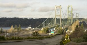 Commuters Travel Back and Forth Tacoma Narrows Bridges Tacoma Stock Images