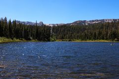 Early morning light on Lake Mary at Mammoth Mountains in California stock photo