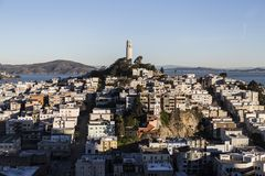 Early Morning Light on Telegraph Hill and Coit Tower Park in San Francisco, California. stock photography