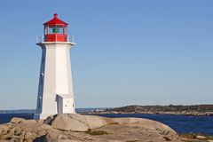 Early Morning Lighthouse. Very early in the morning at Peggy's Cove Lighthouse, Nova Scotia, Canada Royalty Free Stock Photo