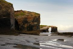 Early morning in llas Catedrales beach. Ribadeo, Spain Royalty Free Stock Photography
